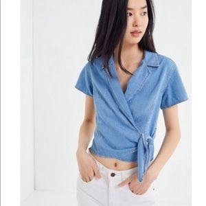 Y2K UO BDG Denim Cropped Wrap Top Blouse Size XS
